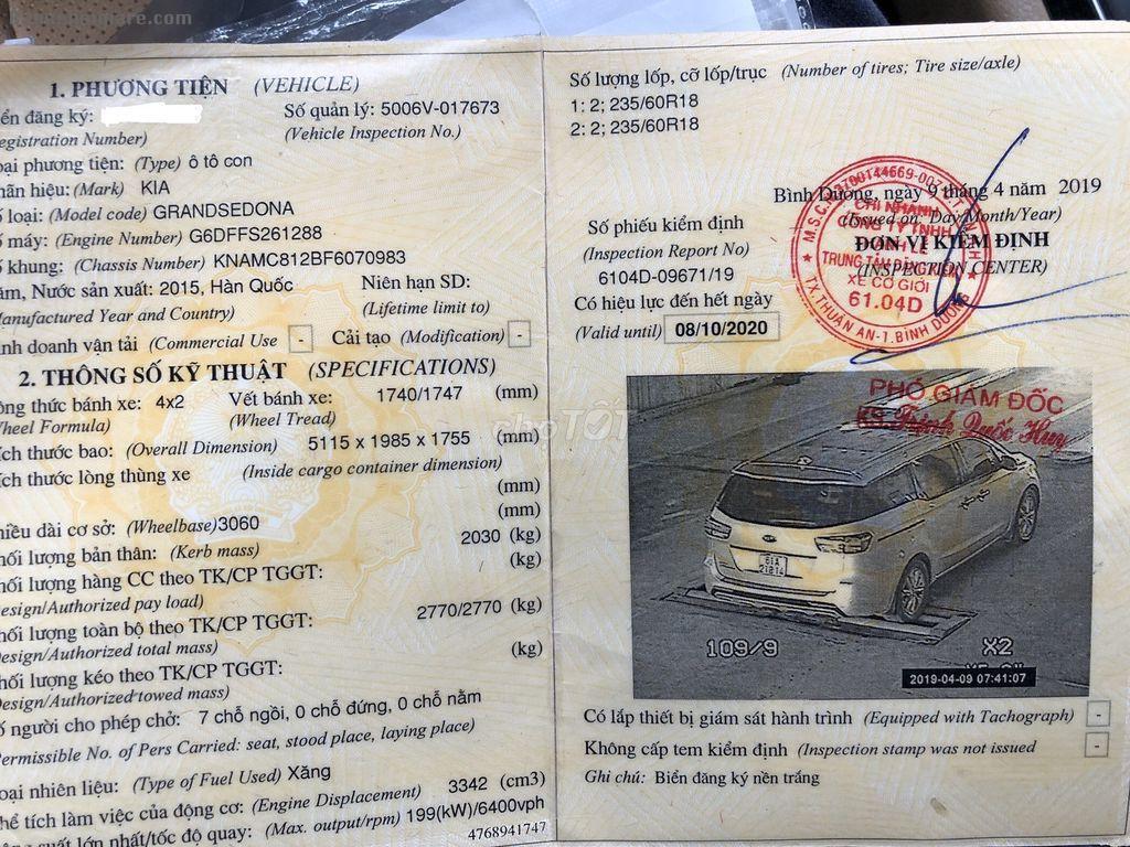 Cần bán xe kia sedona đời 2015